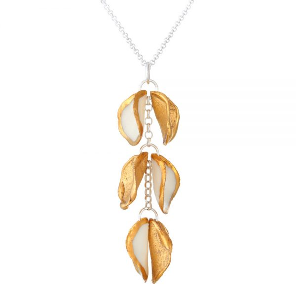 Gold edged pendant with 3 'twin' petals