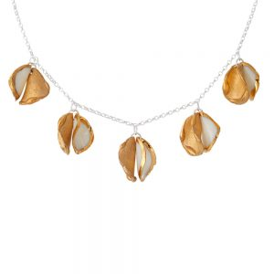 5 'twin' petal necklace with gold lustre