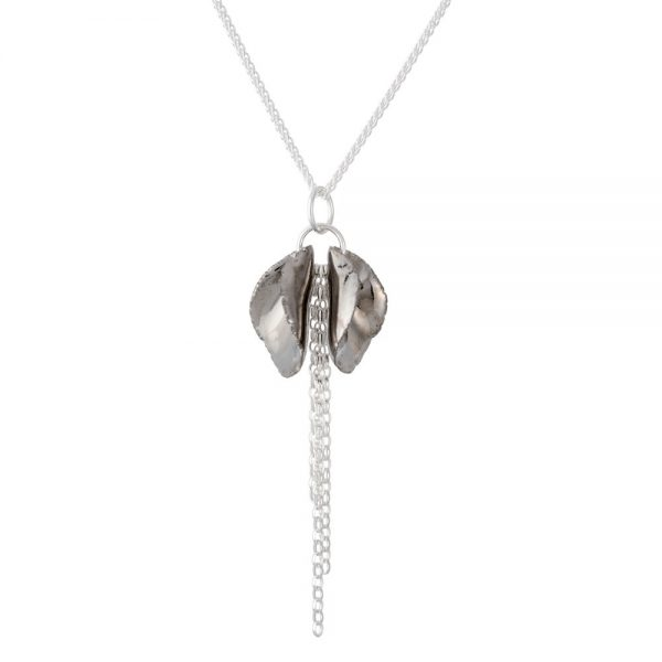 Shiny platinum lustre - pendant with twin petals and a silver chain tassel