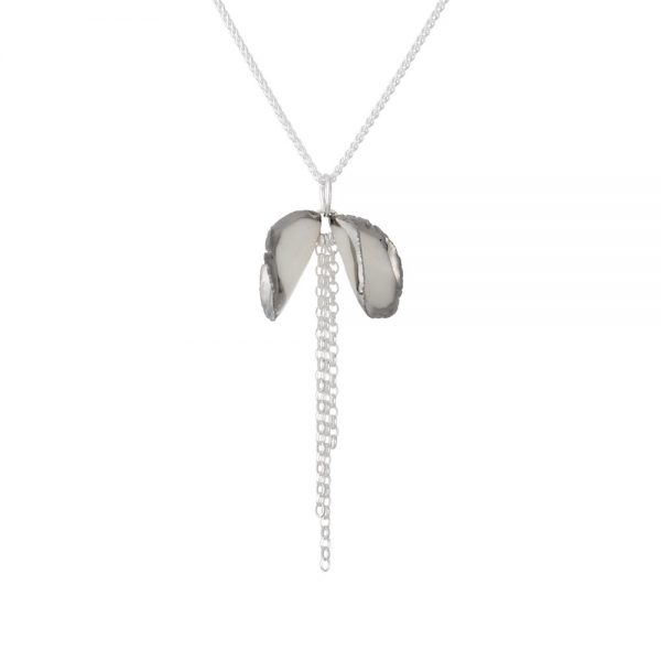 Platinum edged lustre - pendant with twin petals and a silver chain tassel