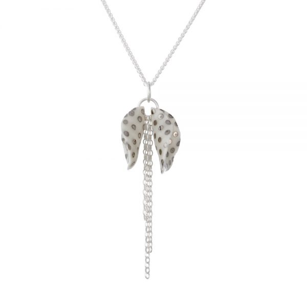 Spotty lustre - pendant with twin petals and a silver chain tassel