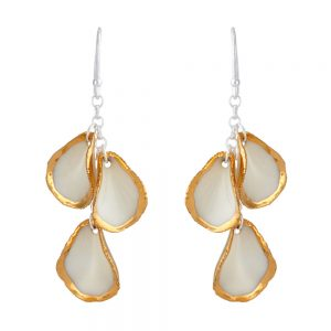Gold edge drop earrings with 3 petals