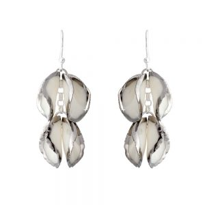 Platinum edge drop earrings with 2 'twin' petals