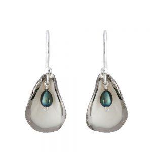 Platinum edge single petal drop earrings