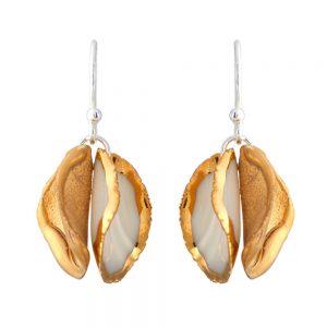 Twin petal drop earrings - alternate matt gold and gold edge petals