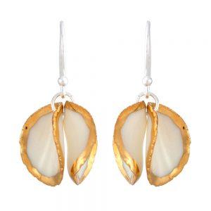 Gold lustre twin petal drop earrings