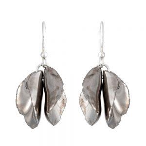 Platinum lustre twin petal drop earrings