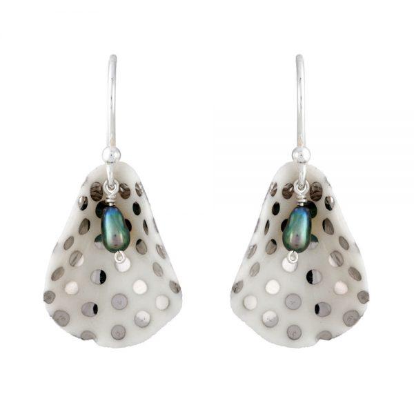 Spotty single petal drop earrings