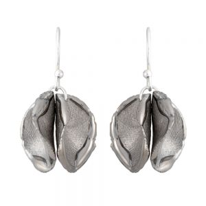 Shiny edge twin petal drop earrings