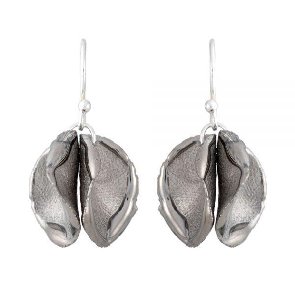 Shiny edge twin petal drop earrings