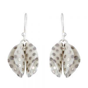 Spotty twin petal drop earrings