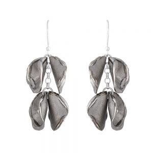 Shiny edge drop earrings with 2 'twin' petals