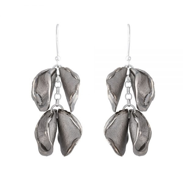 Shiny edge drop earrings with 2 'twin' petals