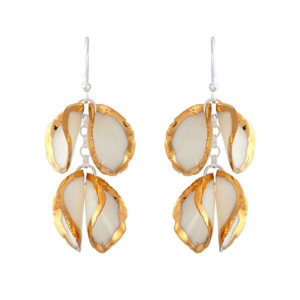 Gold edge drop earrings with 2 'twin' petals