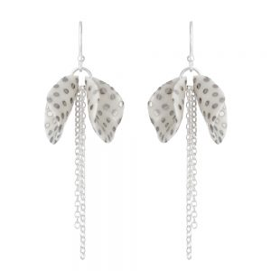 Spotty twin petal drop earrings with a chain tassel