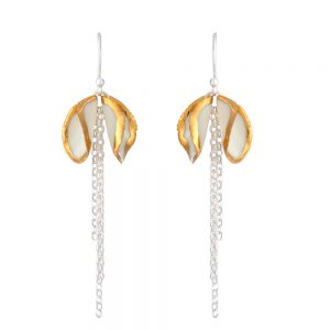 Gold edge twin petal drop earrings with a chain tassel