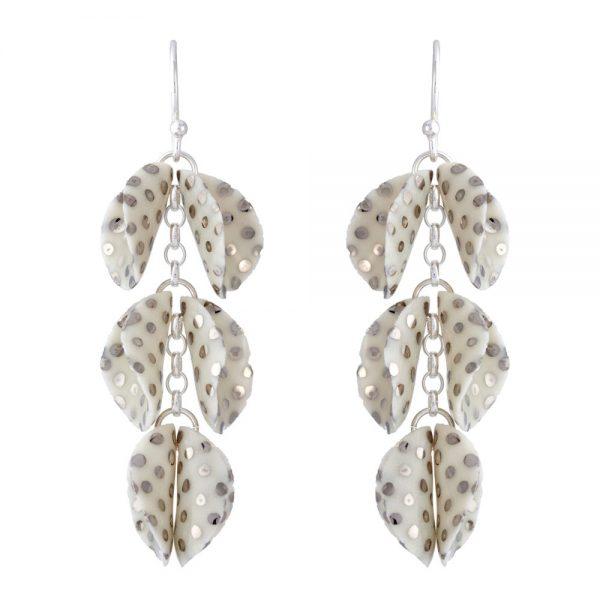 Drop earrings with 3 'twin' petals (iii)