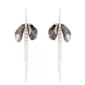 Shiny twin petal drop earrings with a chain tassel