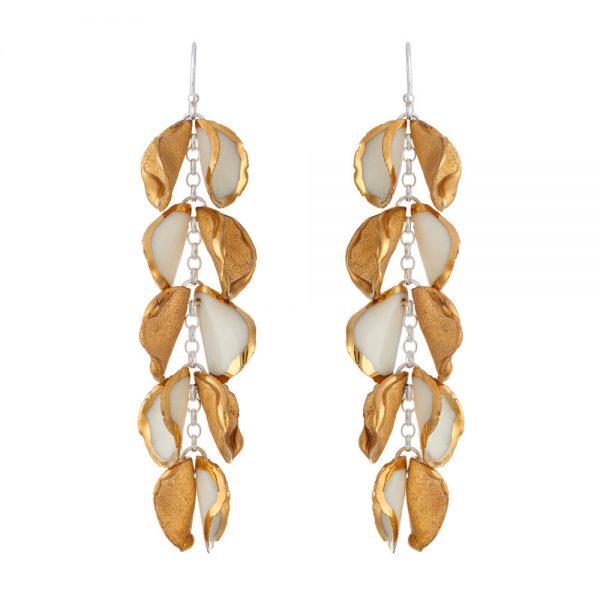 Drop earrings with 5 'twin' petals (iii)