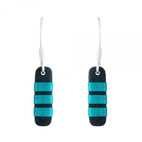 Small drop earrings with aqua chunky stripes