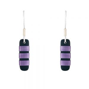 Small drop earrings with lilac chunky stripes