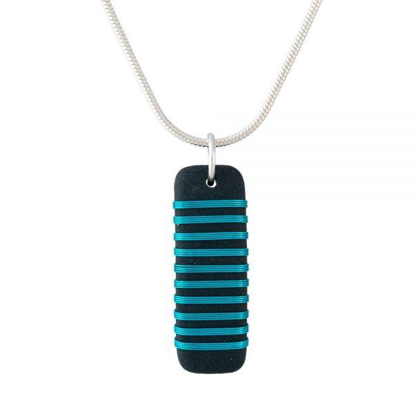 Black porcelain pendant with stripey aqua wrap