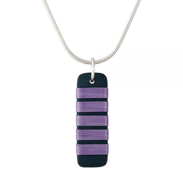 Black porcelain pendant with chunky lilac wrap