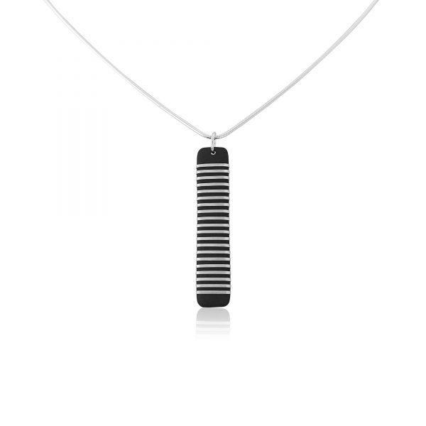 Black porcelain pendant with silver stripe (ii)