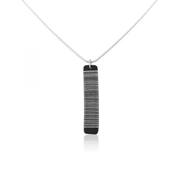 Black porcelain pendant with silver wrap (i)