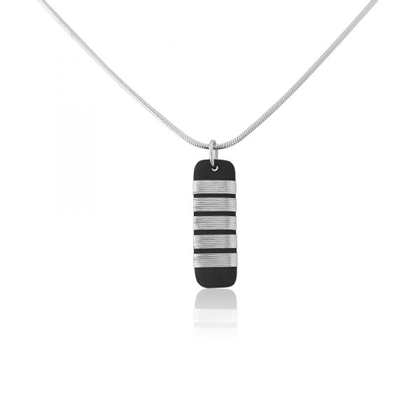 Black porcelain pendant with chunky stripe (ii)