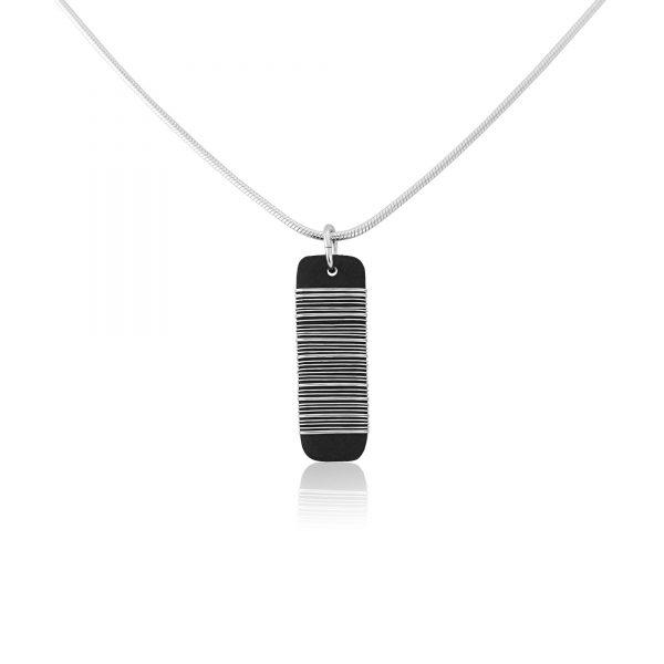 Black porcelain pendant with silver wrap (ii)