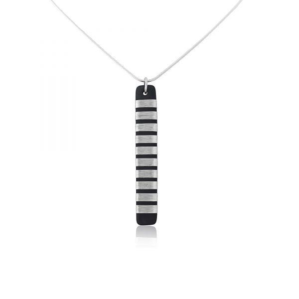 Black porcelain pendant with chunky stripe